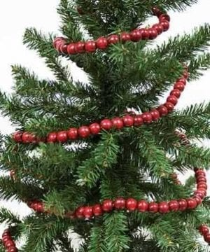 Vintage Style Wooden Cranberry Bead Garland Christmas Tree Holiday Decoration 9 Feet 0 300x360