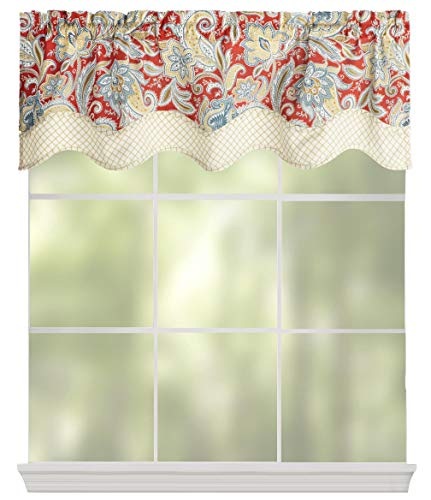 Waverly Traditions By Rustic Retreat Paisley Floral Valance 52 W X 16 L Gem Blue Crimson Yellow 0 0