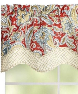Waverly Traditions By Rustic Retreat Paisley Floral Valance 52 W X 16 L Gem Blue Crimson Yellow 0 300x360
