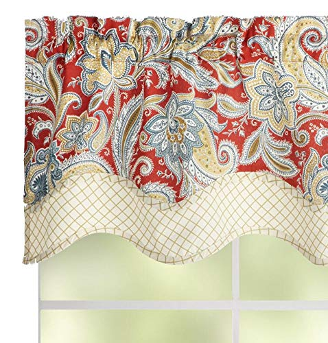 Waverly Traditions By Rustic Retreat Paisley Floral Valance 52 W X 16 L Gem Blue Crimson Yellow 0