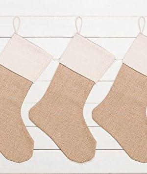 WeiVan Christmas Stocking Large Size Plain Burlap Dcor Set Of 3 0 0 300x355