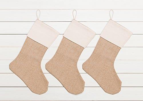 WeiVan Christmas Stocking Large Size Plain Burlap Dcor Set Of 3 0 0