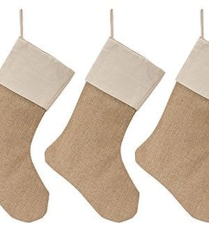 WeiVan Christmas Stocking Large Size Plain Burlap Dcor Set Of 3 0 300x333