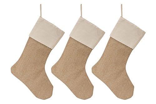 WeiVan Christmas Stocking Large Size Plain Burlap Dcor Set Of 3 0
