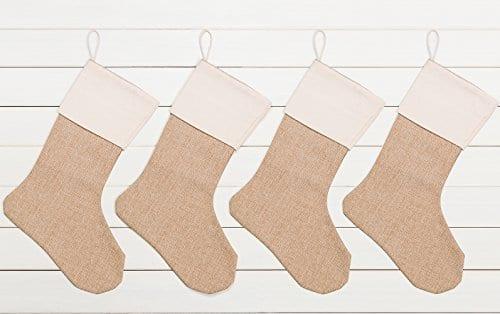 WeiVan Christmas Stocking Plain Burlap Stocking Decorum Large 0 0
