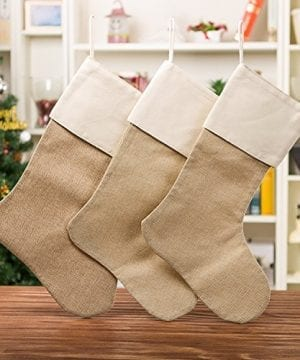 WeiVan Christmas Stocking Plain Burlap Stocking Decorum Large 0 1 300x360