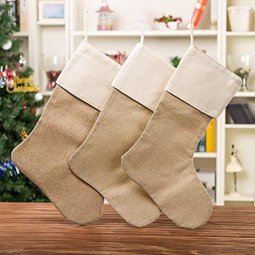 WeiVan Christmas Stocking Plain Burlap Stocking Decorum Large 0 1