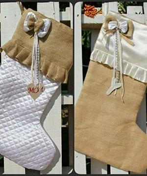 White Christmas Stockings Personalized Christmas Stocking Farmhouse Stockings Shabby Chic Stockings 0 0 300x360