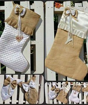 White Christmas Stockings Personalized Christmas Stocking Farmhouse Stockings Shabby Chic Stockings 0 1 300x360