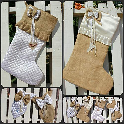 White Christmas Stockings Personalized Christmas Stocking Farmhouse Stockings Shabby Chic Stockings 0 1
