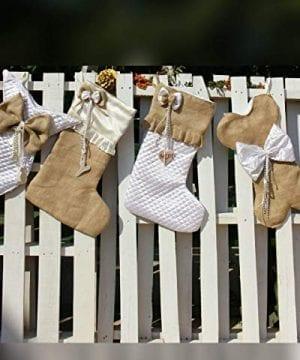 White Christmas Stockings Personalized Christmas Stocking Farmhouse Stockings Shabby Chic Stockings 0 2 300x360