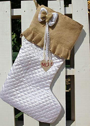 White Christmas Stockings Personalized Christmas Stocking Farmhouse Stockings Shabby Chic Stockings 0 3