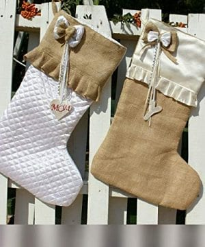 White Christmas Stockings Personalized Christmas Stocking Farmhouse Stockings Shabby Chic Stockings 0 300x360