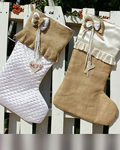 White Christmas Stockings Personalized Christmas Stocking Farmhouse Stockings Shabby Chic Stockings 0