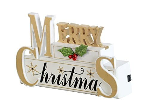 Windy Hill Collection 11 X 7 X 2 Merry Christmas LED Light White Wood Block Set 77702 0 0