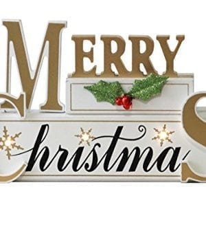 Windy Hill Collection 11 X 7 X 2 Merry Christmas LED Light White Wood Block Set 77702 0 1 300x330