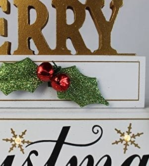 Windy Hill Collection 11 X 7 X 2 Merry Christmas LED Light White Wood Block Set 77702 0 2 300x333