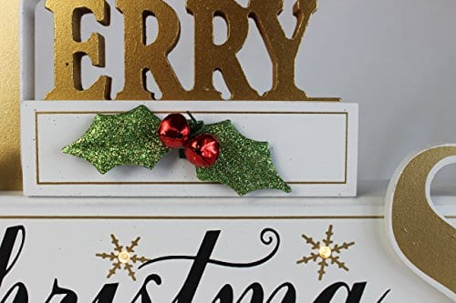 Windy Hill Collection 11 X 7 X 2 Merry Christmas LED Light White Wood Block Set 77702 0 2