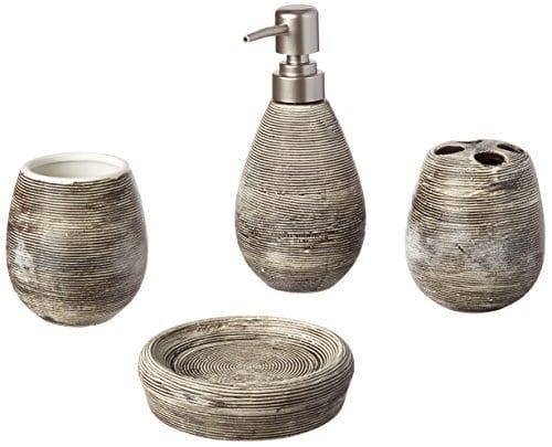 Line Textured Ceramic Soap Dish Soap Dispenser Toothbrush Holder