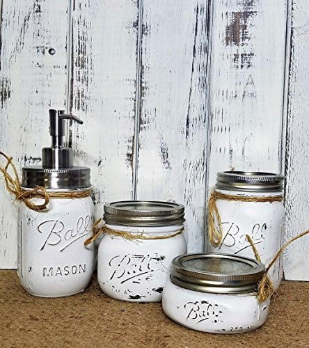 Painted Mason Jar Bathroom
