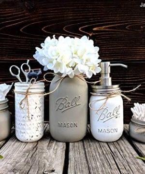5 Piece Mason Jar Bathroom Set With Soap Dispenser Mason Jar Decor Includes Soap Pump Cotton Swab Holder Tissue Holder Toothbrush Holder And Flower Holder 0 300x360