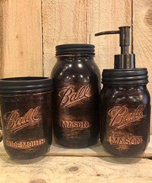 5 Piece Mason Jar Desk Organizer Or Bathroom Set Black Copper Bathroom Set Rustic Copper Mason Jar Desk Set Mens Rustic Copper Bathroom Accessories 0 300x360
