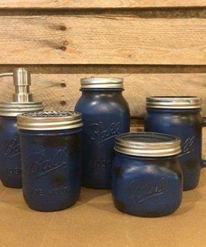 5 Piece Rustic Blue Mason Jar Bathroom Accessory Set Or Desk Set With Mason Jar Drinking Mug And Mason Jar Soap Dispenser Mens Bathroom Decor 0 300x360