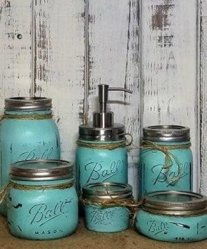 6 Piece Mason Jar Bathroom Organization Set Painted Mason Jar Set Mason Jars Soap Dispenser Bathroom Accessories Available In 20 Colors 0 300x360