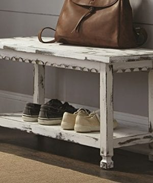 Alaterre ACCA03WA Rustic Cottage Bench White Antique 0 0 300x360