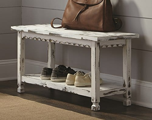 Alaterre ACCA03WA Rustic Cottage Bench White Antique 0 0
