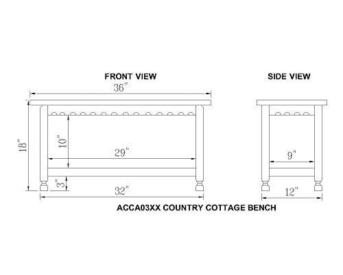 Alaterre ACCA03WA Rustic Cottage Bench White Antique 0 2