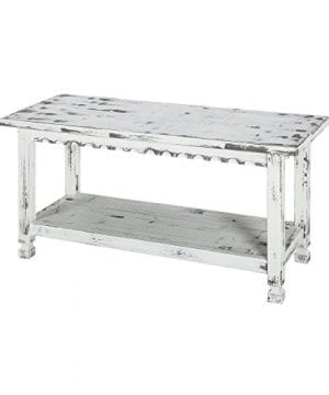 Alaterre ACCA03WA Rustic Cottage Bench White Antique 0 300x360