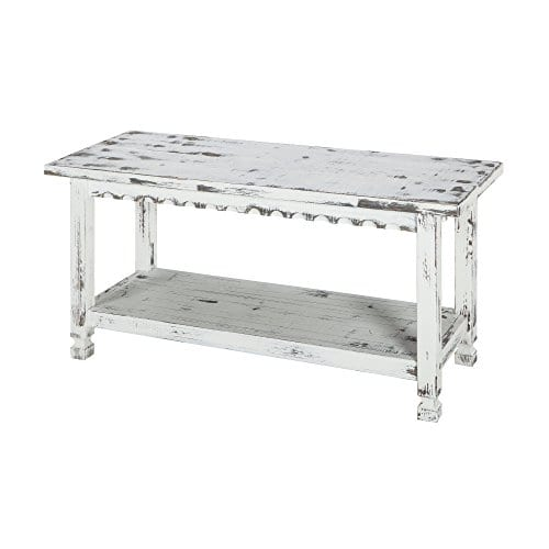 Alaterre ACCA03WA Rustic Cottage Bench White Antique 0