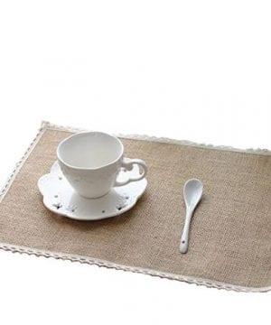 40cm x 30cm Hessian /& Lace Table Place Mats Vintage Rustic