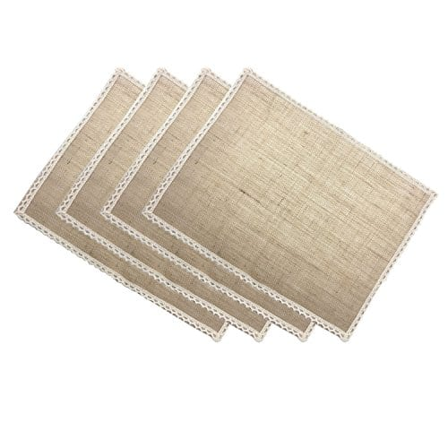 aothpher set of 4 rustic natural jute table square placemats farmhouse goals. Black Bedroom Furniture Sets. Home Design Ideas