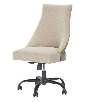 Ashley Furniture Signature Design Adjustable Swivel Office Chair Manual Tilt Casual Linen Nailhead Trim 0 300x360
