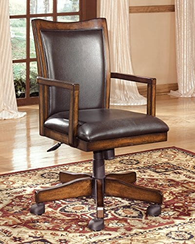 Ashley Furniture Signature Design Hamlyn Swivel Office Desk Chair Casters Traditional Medium Brown Finish Brown Faux Leather 0 0