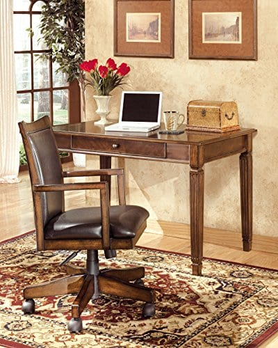 Ashley Furniture Signature Design Hamlyn Swivel Office Desk Chair Casters Traditional Medium Brown Finish Brown Faux Leather 0 1