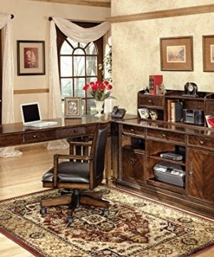 Ashley Furniture Signature Design Hamlyn Swivel Office Desk Chair Casters Traditional Medium Brown Finish Brown Faux Leather 0 2 300x360
