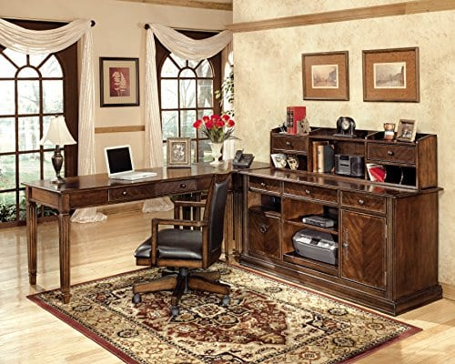 Ashley Furniture Signature Design Hamlyn Swivel Office Desk Chair Casters Traditional Medium Brown Finish Brown Faux Leather 0 2
