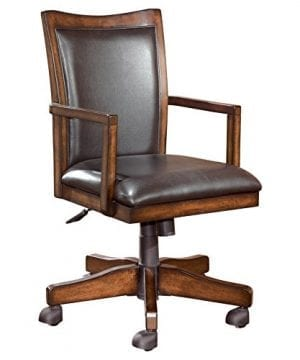 Ashley Furniture Signature Design Hamlyn Swivel Office Desk Chair Casters Traditional Medium Brown Finish Brown Faux Leather 0 300x360