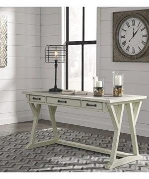 Ashley Furniture Signature Design Jonileene Home Office Large Desk 3 Drawers Distressed White Finish Faux Cement Top Dark Gray Hardware 0 0 300x360