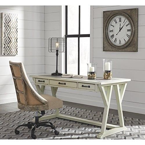 Ashley Furniture Signature Design Jonileene Home Office Large Desk 3 Drawers Distressed White Finish Faux Cement Top Dark Gray Hardware 0 1