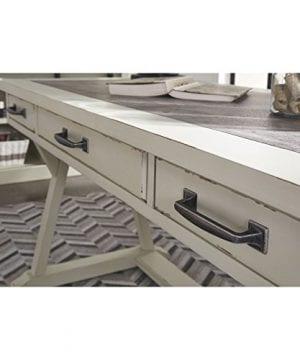 Ashley Furniture Signature Design Jonileene Home Office Large Desk 3 Drawers Distressed White Finish Faux Cement Top Dark Gray Hardware 0 2 300x360