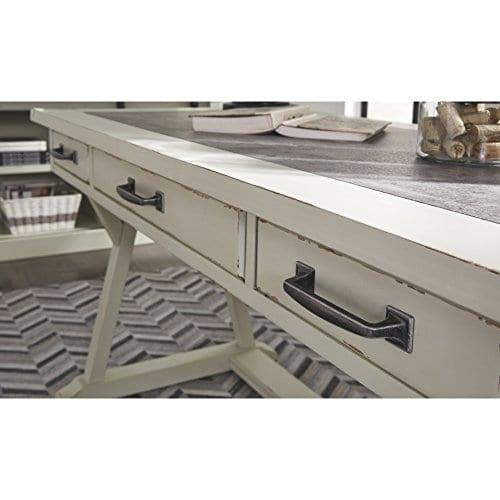 Ashley Furniture Signature Design Jonileene Home Office Large Desk 3 Drawers Distressed White Finish Faux Cement Top Dark Gray Hardware 0 2