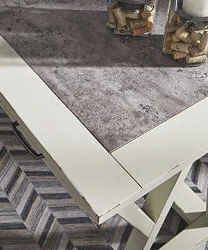 Ashley Furniture Signature Design Jonileene Home Office Large Desk 3 Drawers Distressed White Finish Faux Cement Top Dark Gray Hardware 0 3 300x360