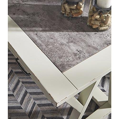 Ashley Furniture Signature Design Jonileene Home Office Large Desk 3 Drawers Distressed White Finish Faux Cement Top Dark Gray Hardware 0 3
