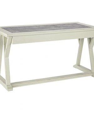 Ashley Furniture Signature Design Jonileene Home Office Large Desk 3 Drawers Distressed White Finish Faux Cement Top Dark Gray Hardware 0 300x360