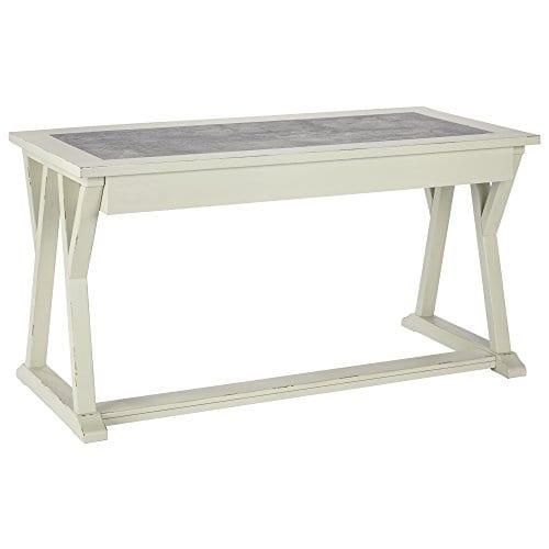 Ashley Furniture Signature Design Jonileene Home Office Large Desk 3 Drawers Distressed White Finish Faux Cement Top Dark Gray Hardware 0