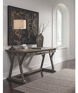 Ashley Furniture Signature Design Luxenford Large Home Office Desk Casual 3 DrawersFaux Bluestone Inset Top Grayish Brown Finish Brushed Nickel Hardware 0 0 300x360